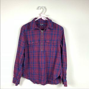 Madewell Womens S Flannel Zip Front Popover Shirt
